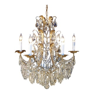 Authentic 1950s Italian 6 Lite Macaroni Beaded Lead Crystal Tole Chandelier