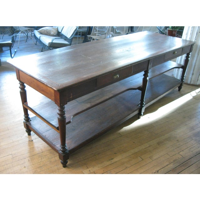 1940s Antique 1940s Three Shelf Mercantile Table For Sale - Image 5 of 8