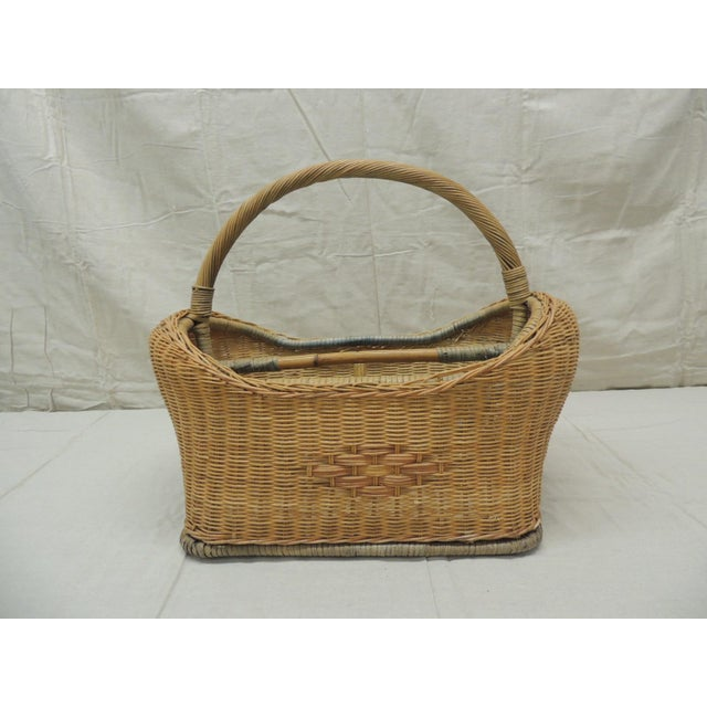 Vintage Wicker Magazine Rack With Handles For Sale - Image 4 of 6