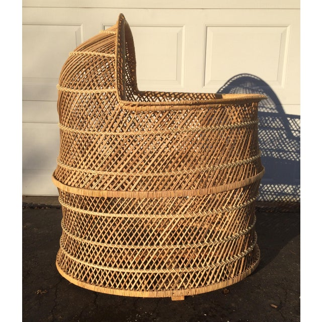 Bohemian Wicker Bassinet For Sale - Image 4 of 11