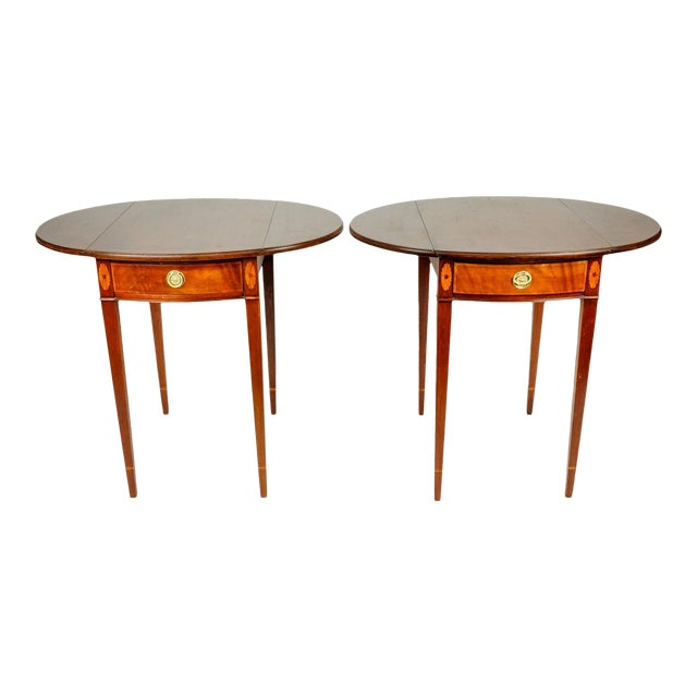 Pair of Cherry and Satinwood Pembroke Drop Leaf Side Tables For Sale