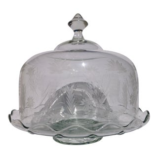 Mid Century Hand Cut Glass Cake Dome Plate For Sale