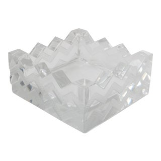 """Lalique French Art Deco Geometric Design"""" Soudan Chevron"""" Dish For Sale"""