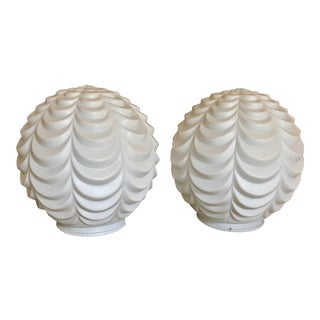 Art Deco Soft White Ruffled Lamp Globes - a Pair For Sale