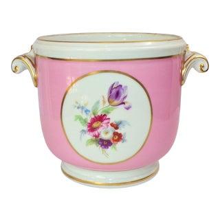 Vintage Pink Floral Richard Ginori Porcelain Cachepot For Sale