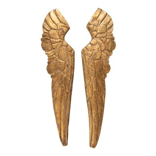 Large Vintage Italian Giltwood Angel Wings Fragments - a Pair For Sale