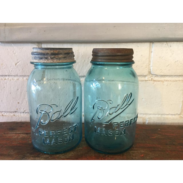 Vintage Blue Ball Mason Jars - A Pair - Image 2 of 11