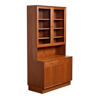 Two-Piece Danish Modern Teak Display China Hutch Cabinet by Brouer Møbelfabrik For Sale