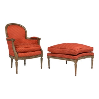French Antique Louis XVI Style Bergère and Ottoman