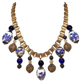 Chinese Blue and White Porcelain Bead and Brass Bookchain Necklace For Sale