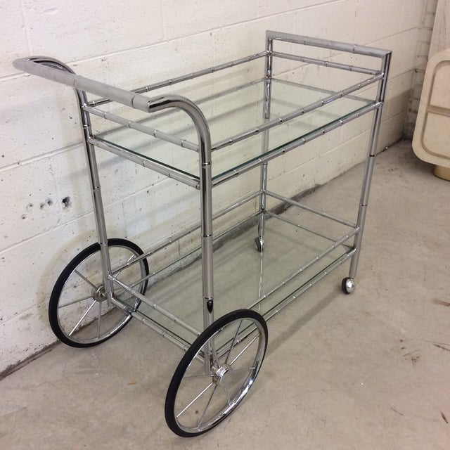 Italian Style Faux Bamboo Chrome Bar Cart For Sale - Image 4 of 10
