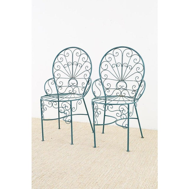 Mid-Century Modern Pair of Salterini Style Iron Garden Patio Chairs For Sale - Image 3 of 13
