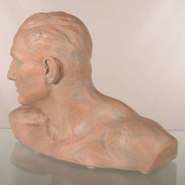 Figurative Italian Terra Cotta Male Bust For Sale - Image 3 of 7