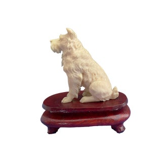 """19th European Ivory Bone Miniature of a Dog on Stand 2.25"""" H For Sale"""