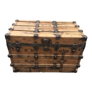 1900s Industrial Steamer Trunk For Sale