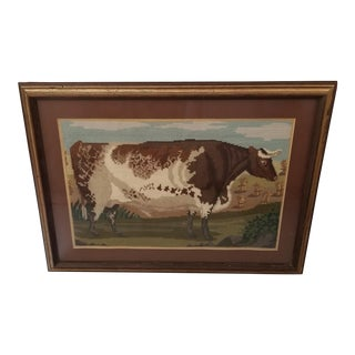 Framed Cow Needle Point For Sale