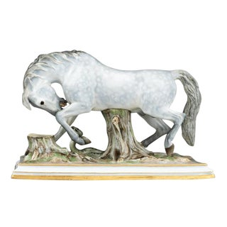 Horse and Snake Porcelain Group by Meissen