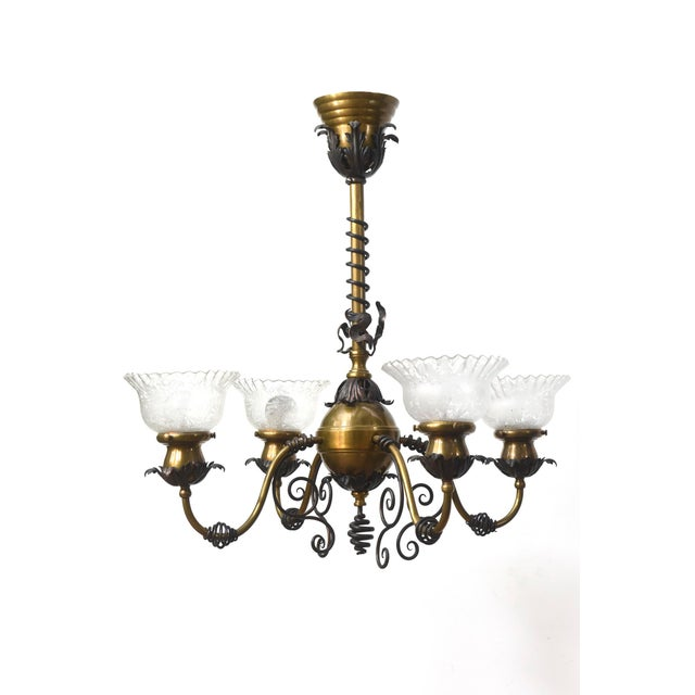 Four Light Brass and Wrought Iron Early Electric Fixture For Sale - Image 10 of 10