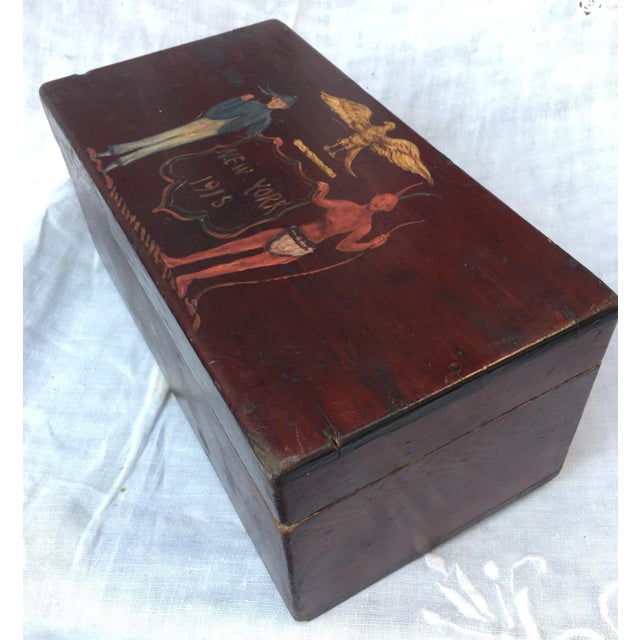 Wood Antique Wooden Box W/Colonial Crest For Sale - Image 7 of 10