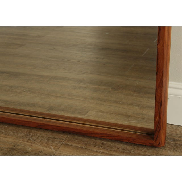 Danish Modern Mid Century Rosewood Rectangular Wall Mirror For Sale - Image 9 of 13