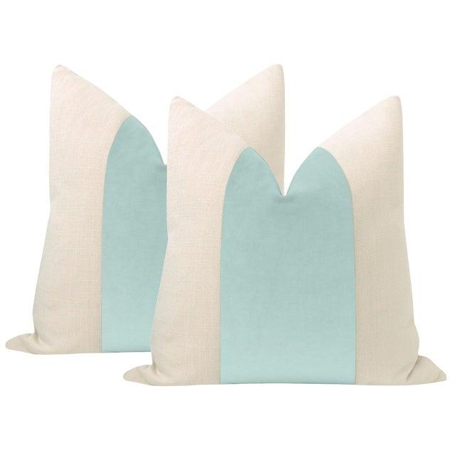 """22"""" Sky Blue Velvet Panel & Linen Pillows - a Pair For Sale"""