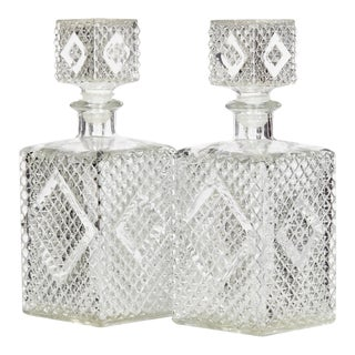 1960s Textured Square Glass Decanters, Pr For Sale