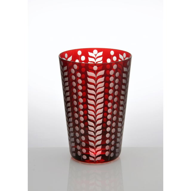 Traditional Pariz Tumblers, Red, Set of 6 For Sale - Image 3 of 4