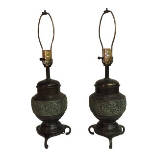 James Mont Mid-Century Bronze Table Lamps - A Pair