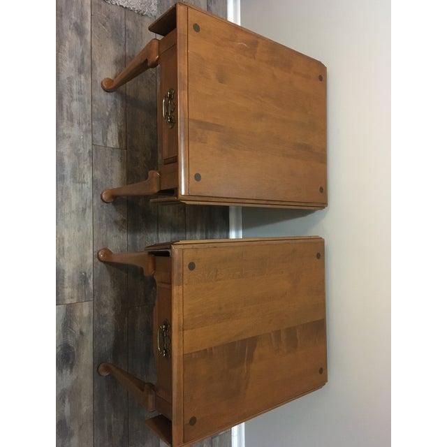 Vintage Ethan Allen Drop Leaf Side Tables - a Pair - Image 7 of 13