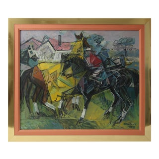"""American Cubist """"Derby Day"""" Oil Painting on Canvas by Algot Stenbery For Sale"""