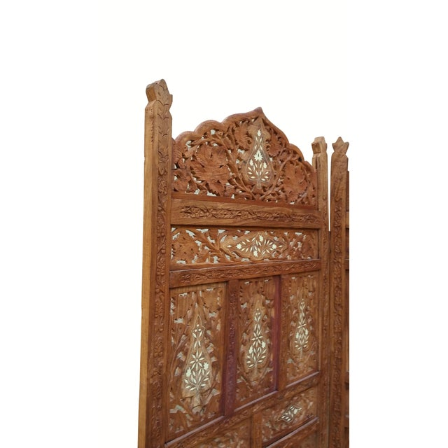 Asian Carved Indian Screen with Brass Inlay For Sale - Image 3 of 7