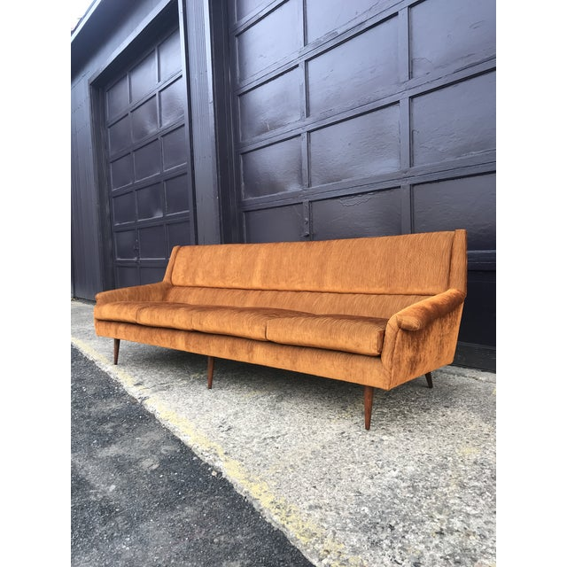 1960s Reupholstered! Early Milo Baughman Thayer Coggin Four Seat Sofa For Sale - Image 5 of 13