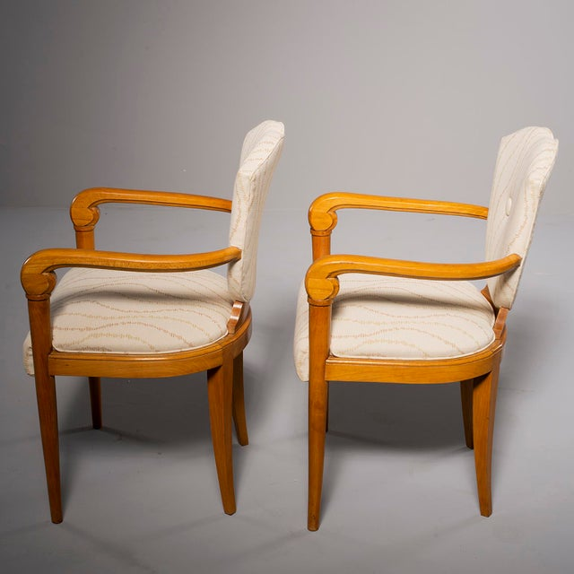 1940s Pair French Bridge Chairs With Beech Frames and New Upholstery For Sale - Image 5 of 10