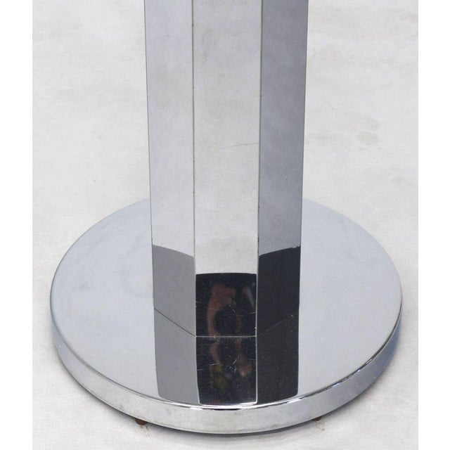Chrome and Glass Floor Lamp Round Side Table For Sale - Image 4 of 5