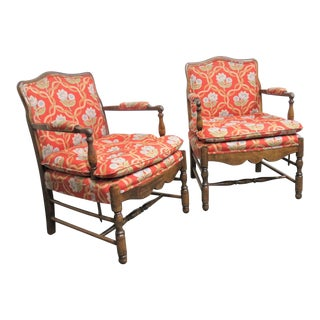 Country French Walnut Floral Chairs- a Pair For Sale