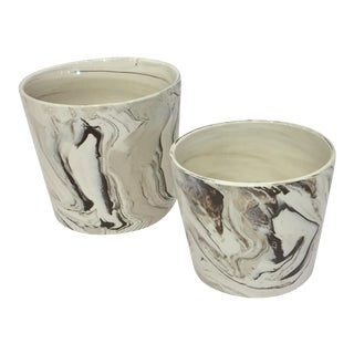 Marbled Brown Cachepots - A Pair