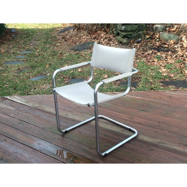 Vintage Mart Stam Breuer Style Tubular Chrome & Gray Leather Chair - Image 2 of 11