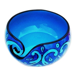 Boho Chic Handcrafted Deep Water Blue Ceramic Knitting Yarn Bowl Holder For Sale