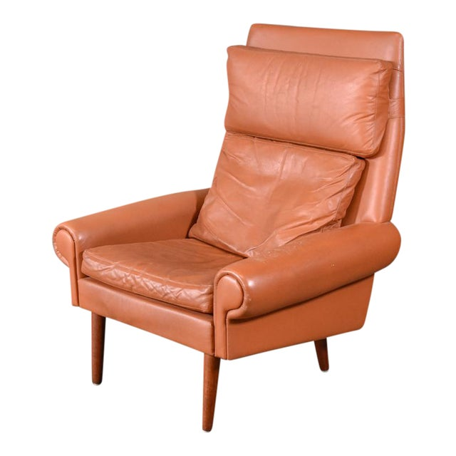 Danish High Back Leather Lounge Chair - Image 1 of 6