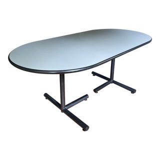 1980's Oval Post Modern Dining Table For Sale