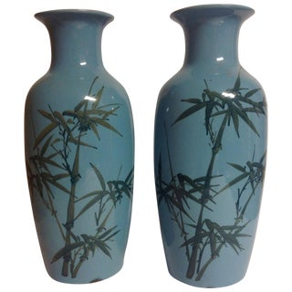 Vintage Awaji Japanese Turquoise & Green Vases - a Pair For Sale