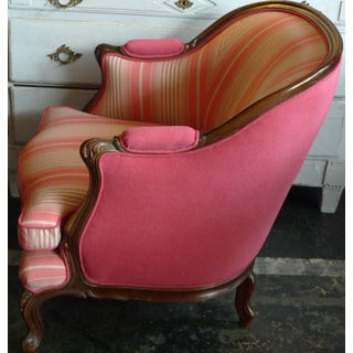 19th Century French Walnut Bergere Armchair Reupholstered With New Fabric. Preview
