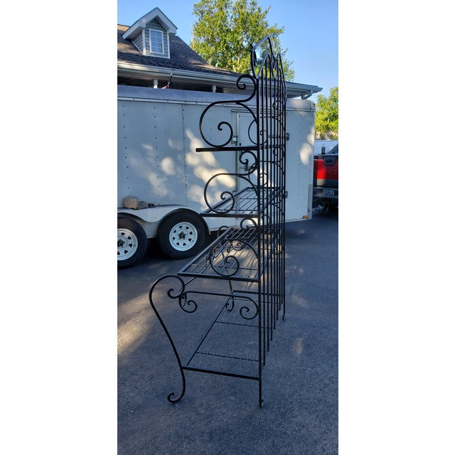 Mid 20th Century Mid 20th Century Black Wrought Iron Bakers Rack For Sale - Image 5 of 7