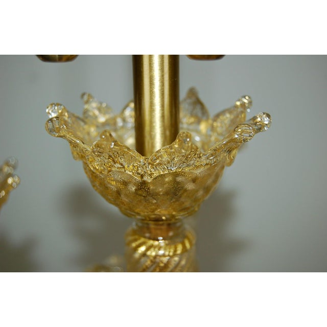 Hollywood Regency Marbro Murano Candelabra Glass Table Lamps Gold For Sale - Image 3 of 10
