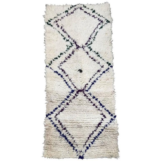Blue Mid Century Moroccan Beni Ouarain Tribal Rug - 2′8″ × 6′3″ For Sale - Image 8 of 8