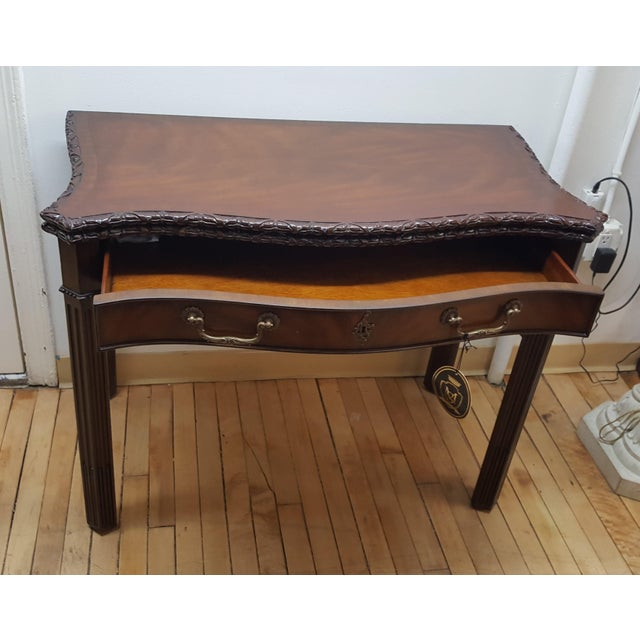 Maitland Smith Mahogany Flip Top Game Table For Sale In New York - Image 6 of 9