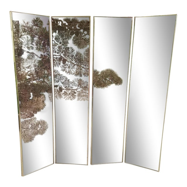 Vintage Gold Etched Mirror Room Divider For Sale