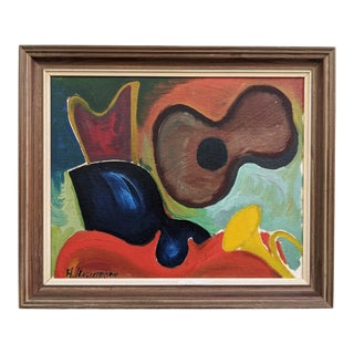Mid 20th Century Modernist Style Still Life Oil Painting of Instruments, Framed For Sale