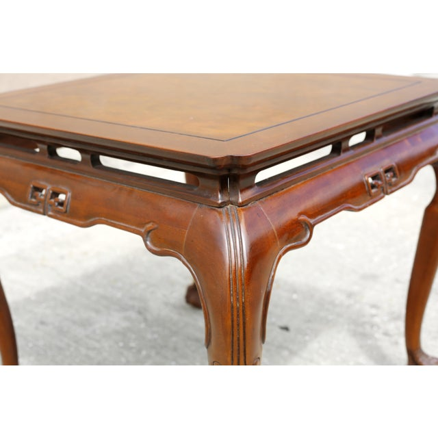 """Wood Vintage Drexel Heritage """"Ming Treasure"""" Square Clawfoot Side Table For Sale - Image 7 of 10"""