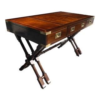 Vintage English Campaign Faux Bamboo X-Base Partner Desk For Sale